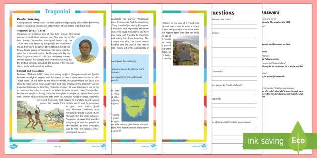 Influential Aboriginal and Torres Strait Islander People - Truganini Differentiated Reading Comprehension Activity-Australia - Famous Indigenous Australians, Truganini, Tasmania, Tasmanian, Bruny Island, Indigenous, Aboriginal,