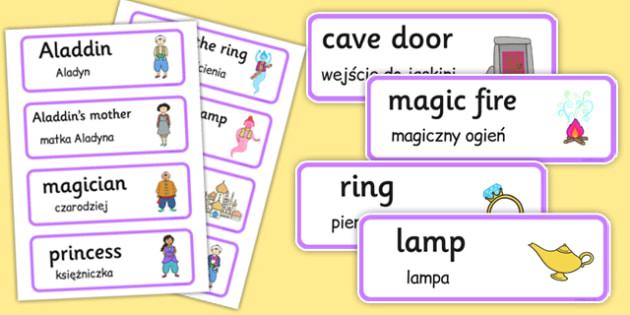 Aladdin Word Cards Polish Translation - polish, aladdin, word cards, word, cards, traditional tale