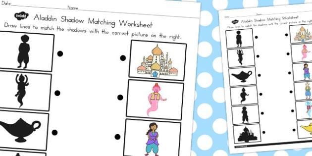 Aladdin Shadow Matching Worksheet - worksheets, match, activity