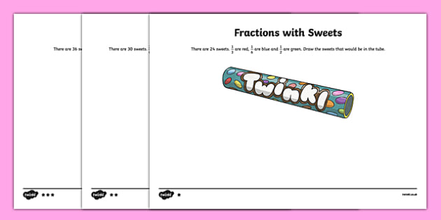Year 3 Differentiated Fractions with Sweets Activity Sheet - Fractions, fractions of groups, fraction of a group, fraction of an amount, fraction of a number, unit fraction, fraction of a set, Smarties, worksheet