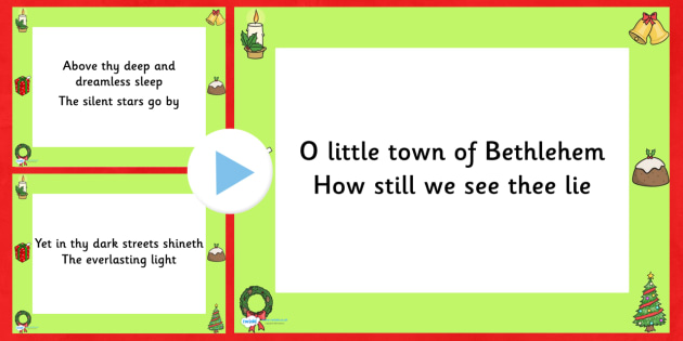 O Little Town Of Bethlehem Lyrics PowerPoint - christmas, lyrics