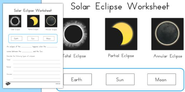 Solar Eclipse Worksheet - science, australia, space, sun, moon, orbit, in front, behind, black, block, activity, sheet, ks2, key stage, juniors, outside, sky, night, day,