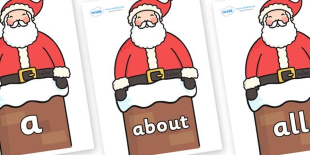 100 High Frequency Words on Santa in Chimney - High frequency words, hfw, DfES Letters and Sounds, Letters and Sounds, display words