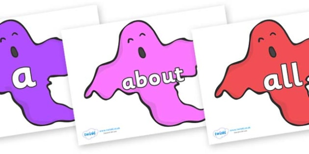 100 High Frequency Words on Ghosts (Multicolour) - High frequency words, hfw, DfES Letters and Sounds, Letters and Sounds, display words