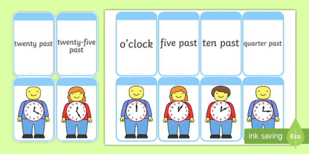 Telling the time on Building Brick Men Matching Flash Cards - time, ks1 time, year 2 time, analogue