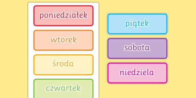 Karty ze słownictwem Dni tygodnia Polish-Polish