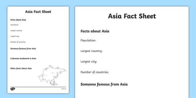 Asia Factsheet Writing Template - asia, asia fact sheet, asia fact file, asia worksheet, facts about asia, asia information hunt, ks2 geography
