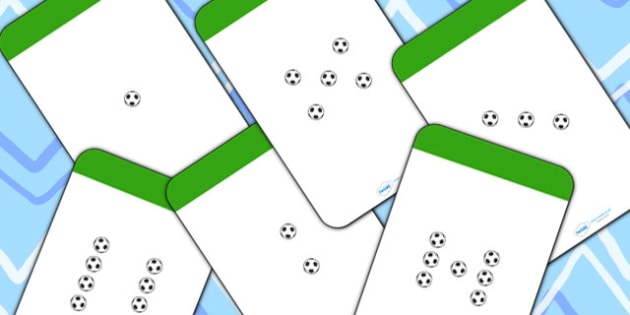 Number Counting Cards (Footballs) - Maths, Math, football, counting, Counting on, Counting back, counting card, counting activity, one to one counting, flashcard, matching cards