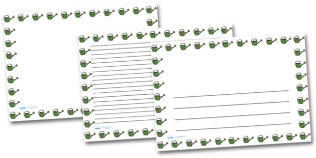 Watering Can Landscape Page Borders- Landscape Page Borders - Page border, border, writing template, writing aid, writing frame, a4 border, template, templates, landscape