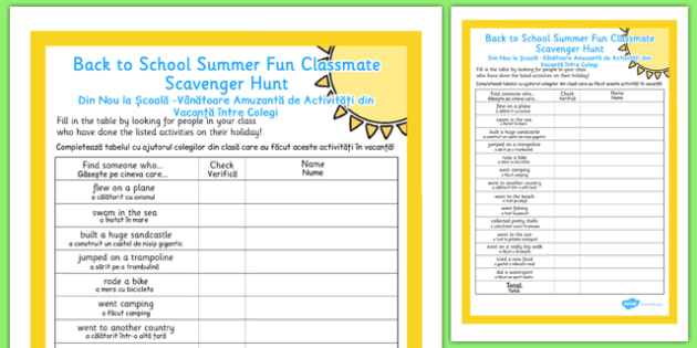 Back to School Summer Fun Classmate Scavenger Hunt Romanian Translation