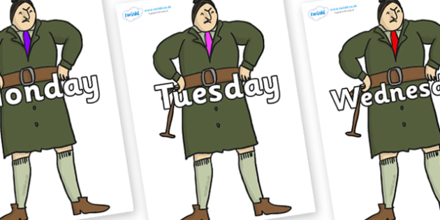 Days of the Week on Mrs Trunchbull to Support Teaching on Matilda - Days of the Week, Weeks poster, week, display, poster, frieze, Days, Day, Monday, Tuesday, Wednesday, Thursday, Friday, Saturday, Sunday