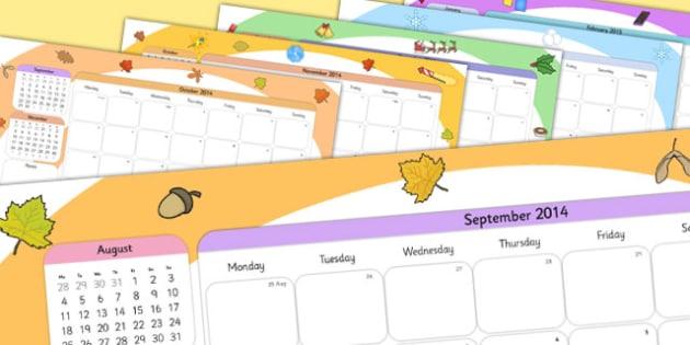 Themed Academic Year Calendar September 2014 August 2015