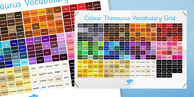 Colour Thesaurus Vocabulary Grid - colour, thesaurus, vocabulary, grid, vocabulary grid