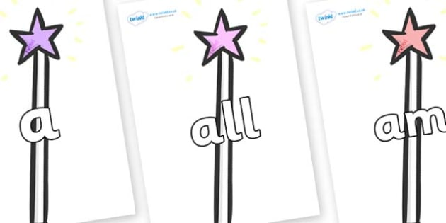 Foundation Stage 2 Keywords on Wands - FS2, CLL, keywords, Communication language and literacy,  Display, Key words, high frequency words, foundation stage literacy, DfES Letters and Sounds, Letters and Sounds, spelling