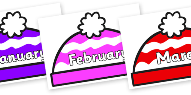 Months of the Year on Woolly Hats (Multicolour) - Months of the Year, Months poster, Months display, display, poster, frieze, Months, month, January, February, March, April, May, June, July, August, September