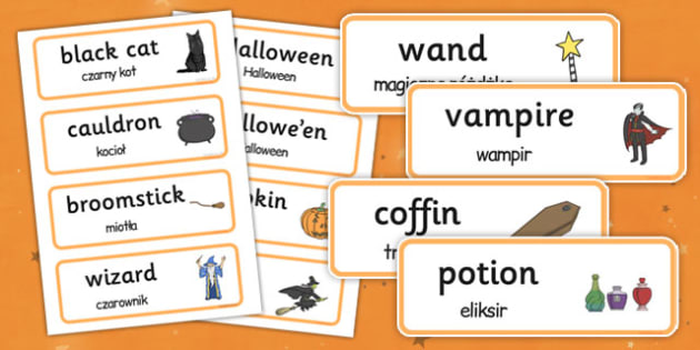 Halloween Word Cards Polish Translation - polish, halloween, word cards, word, cards, celebration, festival