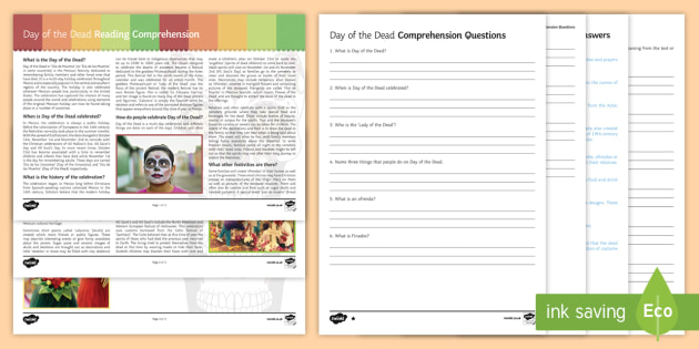KS3 Day of the Dead Differentiated Reading Comprehension Activity