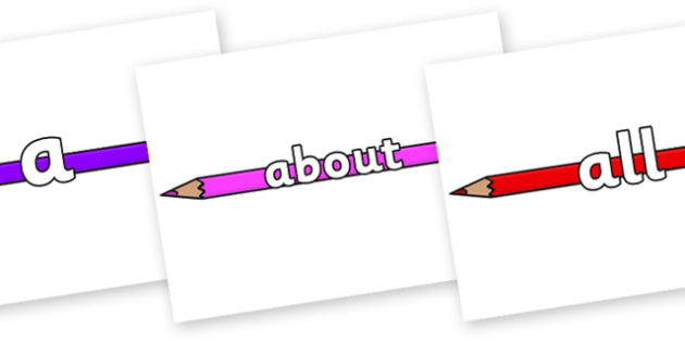 100 High Frequency Words on Pencil Crayon - High frequency words, hfw, DfES Letters and Sounds, Letters and Sounds, display words