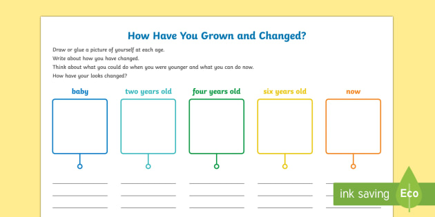 How Have You Grown and Changed? Activity Sheet