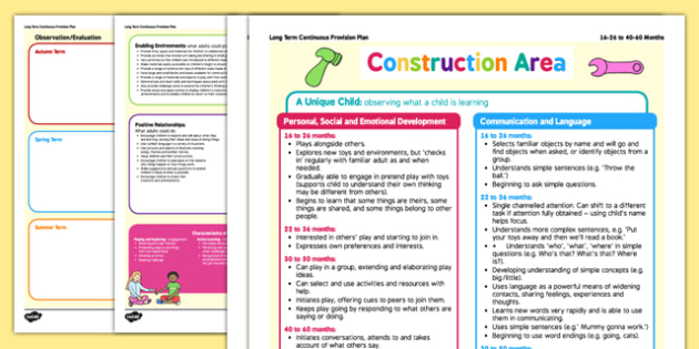 Construction Area Continuous Provision Plan Posters 16-26 to 40-60 Months - construction area, continuous provision plan, posters, 16-26, 40-60