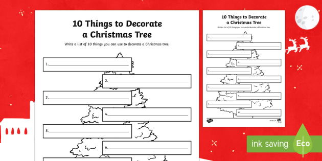 10 Things to Decorate a Christmas Tree Writing Activity Sheet