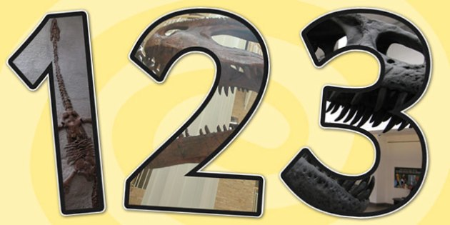 Dinosaurs Themed Photo A4 Display Numbers - dinosaurs, numbers