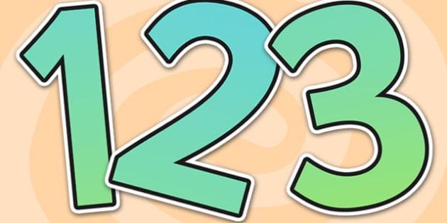 0-31 Display Numbers (Turquoise Grad) - Display numbers, 0-9, numbers, display numerals, display lettering, display numbers, display, cut out lettering, lettering for display, display numbers