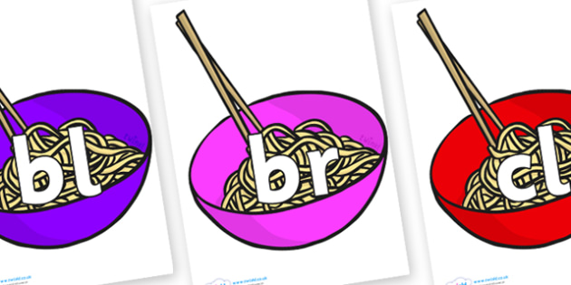 Initial Letter Blends on Chinese Noodles - Initial Letters, initial letter, letter blend, letter blends, consonant, consonants, digraph, trigraph, literacy, alphabet, letters, foundation stage literacy