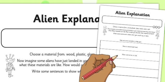 Alien Explanation Activity Sheet - alien, explanation, activity, sheet, worksheet
