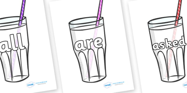 Tricky Words on Milkshakes - Tricky words, DfES Letters and Sounds, Letters and sounds, display, words