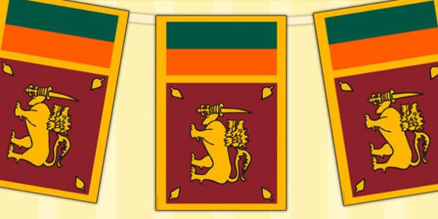 Sri Lanka Flag Display Bunting - countries, geography, display