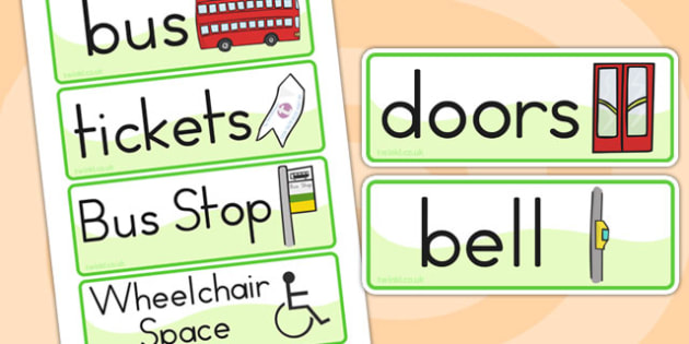 Bus Station Role Play Labels - bus station, transport, role play