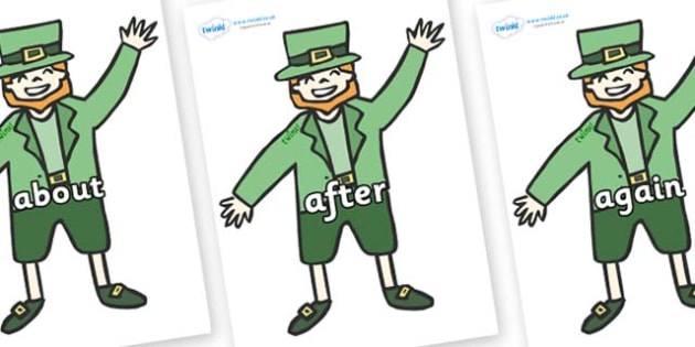 KS1 Keywords on Leprechauns - KS1, CLL, Communication language and literacy, Display, Key words, high frequency words, foundation stage literacy, DfES Letters and Sounds, Letters and Sounds, spelling