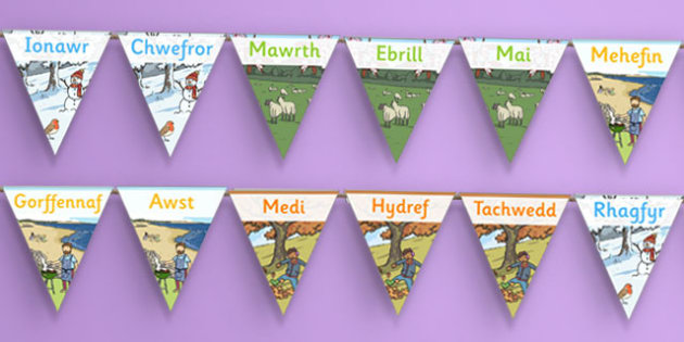 Months of the Year Display Bunting Cymraeg - cymraeg, months, year, display bunting