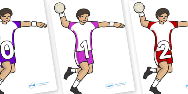 Numbers 0-50 on Handball Players - 0-50, foundation stage numeracy, Number recognition, Number flashcards, counting, number frieze, Display numbers, number posters