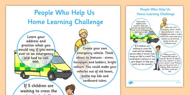 EYFS People Who Help Us Home Learning Challenge Sheet Nursery FS1 - EYFS planning, Early years activities, homework activities, people who help us