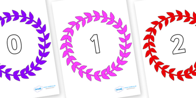 Numbers 0-100 on Wreaths - 0-100, foundation stage numeracy, Number recognition, Number flashcards, counting, number frieze, Display numbers, number posters