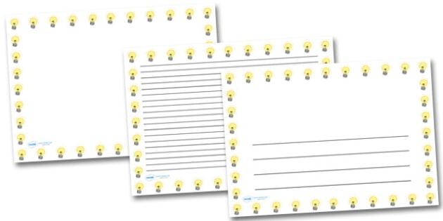 Light Bulb Landscape Page Borders- Landscape Page Borders - Page border, border, writing template, writing aid, writing frame, a4 border, template, templates, landscape