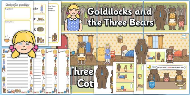 Goldilocks and the Three Bears Role Play Pack - Goldilocks, traditional tales, tale, fairy tale, three bears, porridge, cottage, beds