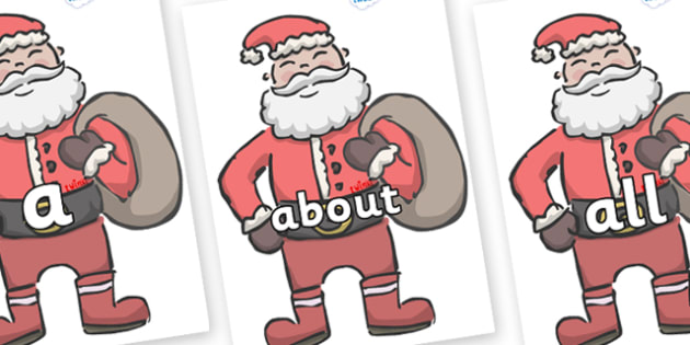 100 High Frequency Words on Santas - High frequency words, hfw, DfES Letters and Sounds, Letters and Sounds, display words
