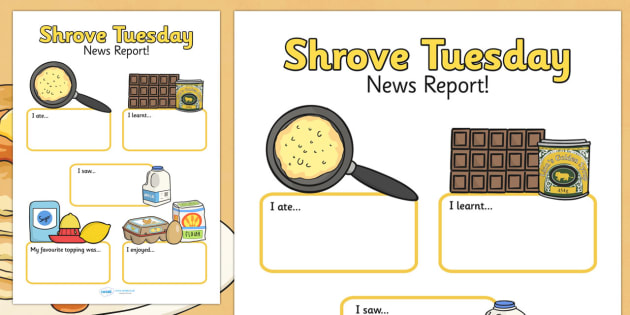 Shrove Tuesday Event Writing Report - shrove Tuesday, writing