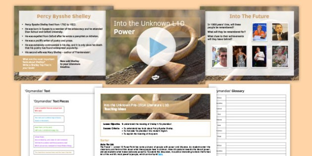 Into the Unknown Pre-1914 Literature Lesson Pack 10: Power - Percy Bysshe Shelley, Ozymandias, Romantics, power, poetry