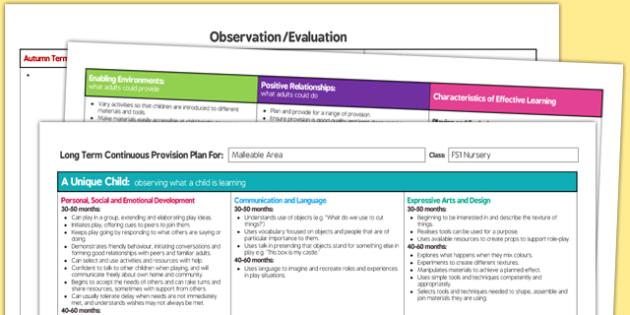 Malleable Area Editable Continuous Provision Plan Nursery FS1