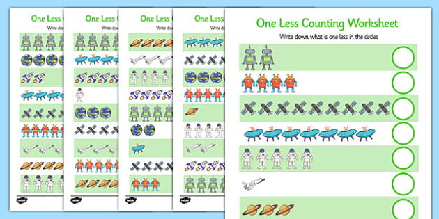 Space Themed One Less Counting Worksheet -maths, numeracy, KS1, key stage 1, counting, numbers, subtraction