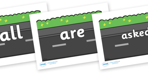 Tricky Words on Roads (Plain) - Tricky words, DfES Letters and Sounds, Letters and sounds, display, words