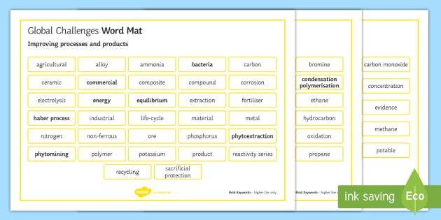 OCR Gateway Chemistry Global Challenges Word Mat - Word Mat, ocr, chemistry, topic, c6, global