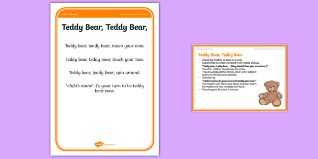 Foundation PE (Reception) Teddy Bear Teddy Bear Warm-Up Activity Card - physical activity, foundation stage, physical development, games, dance, gymnastics