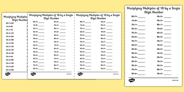 Multiplying Multiples of 10 by 1 Digit Numbers A5 Activity Sheet - multiplying, multiples, 10, 1 digit, numbers, activity, sheet, worksheet
