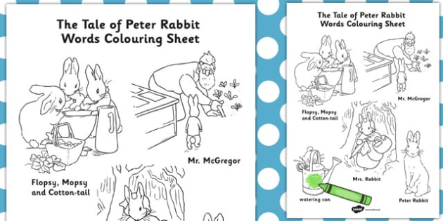 The Tale of Peter Rabbit Words Colouring Sheet - peter rabbit