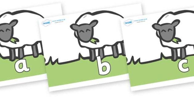 Phase 2 Phonemes on Sheep to Support Teaching on Pig in the Pond - Phonemes, phoneme, Phase 2, Phase two, Foundation, Literacy, Letters and Sounds, DfES, display